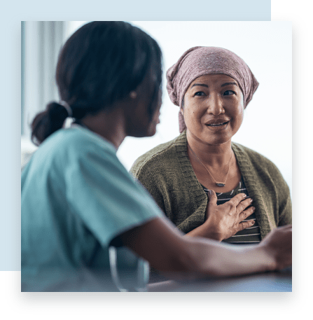 Doctor and Patient Discuss Breast Cancer at Bellevue